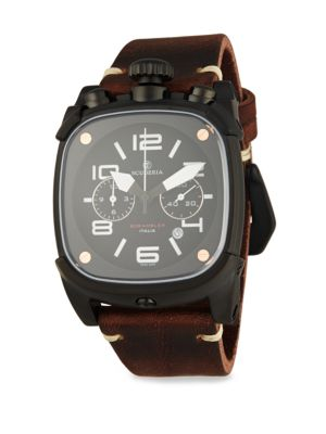 Scrambler Stainless Steel Leather Strap Analog Watch