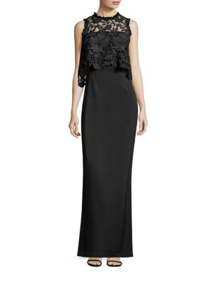MIDNIGHT Lace & Crepe Popover Gown