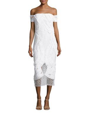 Apollo Crochet Off-The-Shoulder Midi Dress