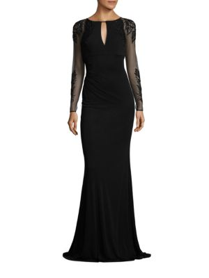 Beaded Sheer Sleeve Gown