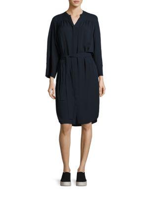 Shirred Silk Shirtdress