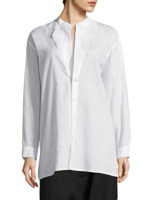 Notched Detail Cotton Shirt