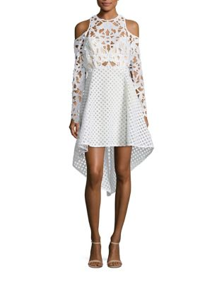 Trulli Mixed Media Cold-Shoulder Dress
