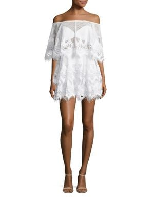 For An Angel Crochet Off-The-Shoulder Mini Dress