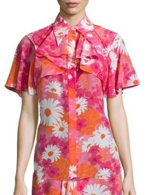 Floral Button Front Top by Michael Kors Collection