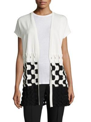 Matte Crepe Two-Tone Cable-Knit Vest