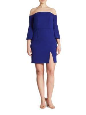 Plus Off-the-Shoulder Short Scuba Dress