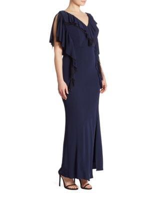 Plus Matte Jersey Ruffle Gown