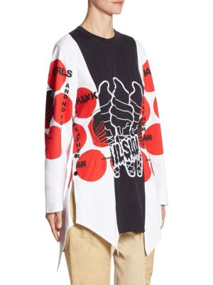 STELLA MCCARTNEY 'Aurelia' Mixed Slogan Print Colourblock Top in White-Multi