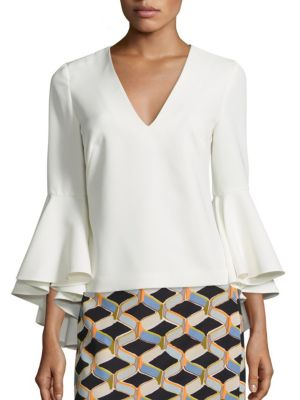 Nicole Bell Sleeve Top by MILLY