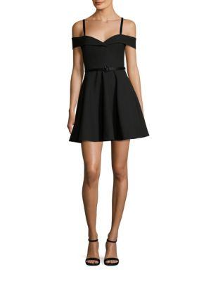 Larissa Belted Cold-Shoulder Dress