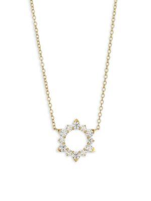 Aerial Petite Eclipse 18K Yellow Gold & Diamond Pendant Necklace
