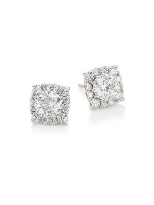 HOF Classics 18K White Gold & Round Diamond Custom Halo Stud Earrings