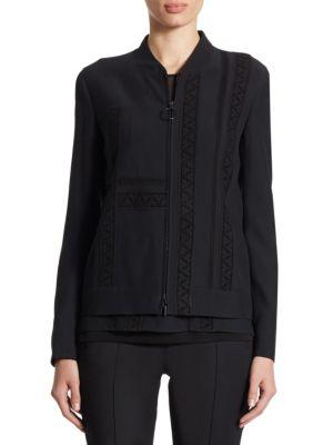 Lace-Detail Zip Jacket