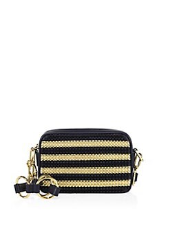 4cdbd52c67ac38 Michael Kors Collection Julie Small Studded Stripe Leather Camera Bag