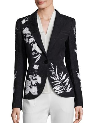 Printed One Button Blazer