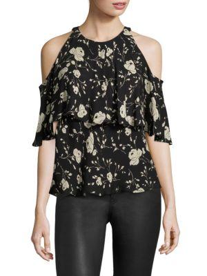 Cold-Shoulder Silk Floral-Print Blouse by Polo Ralph Lauren