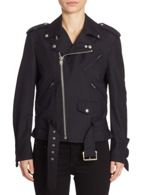 Pinstripe Moto Jacket by Comme Comme