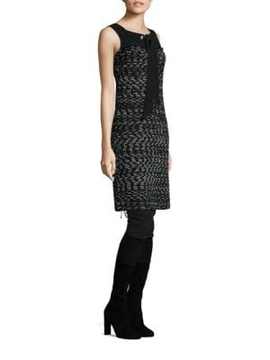Tie Front Tweed Dress