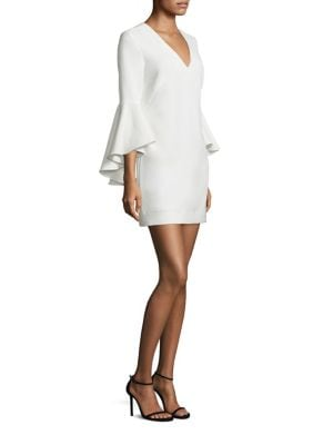 Nicole Cady V-Neck Bell Sleeve Dress