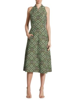 Diamond Jacquard Zip-Front Dress