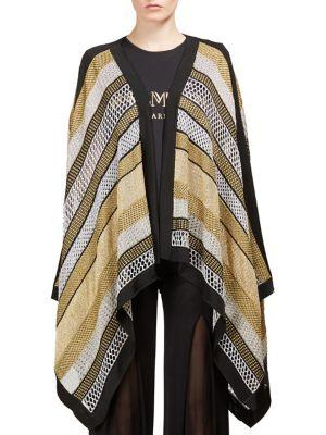 Striped Metallic Poncho