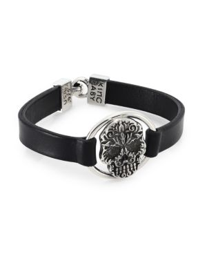 Sterling Silver Baroque Skull Centerpiece Leather Strap Bracelet