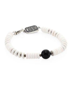 Sterling Silver, Black Onyx & White Shell Beaded Bracelet
