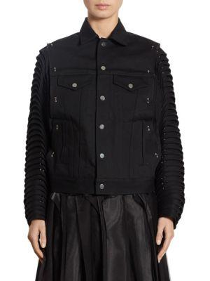 NOIR KEI NINOMIYA Accordion Sleeve Denim Moto Cotton Jacket