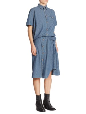 Twisted Button Front Shirtdress