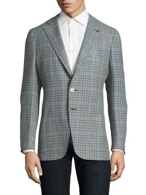 Slim-Fit Gingham Wool & Cotton Sportcoat
