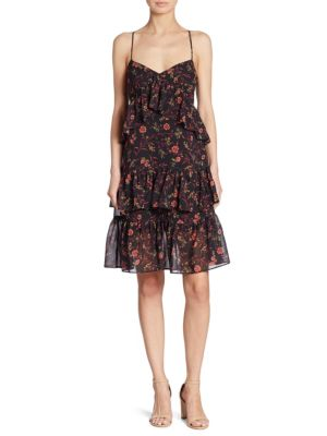 Floral-Print Ruffled Tiered Dress