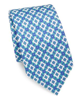 Medallion Patterned Silk Tie
