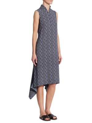 Las Rocas-Print Asymmetric Dress