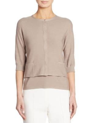 Fine-Ribbed Cropped Cardigan