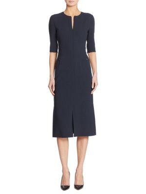 Zip-Front Wool Dress