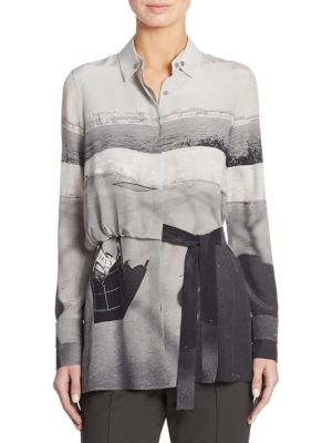 Shadow-Print Silk Trench Blouse