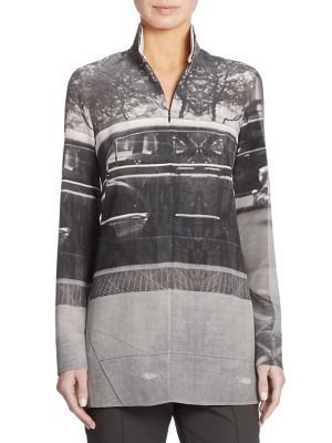 Printed Silk Tunic Blouse by Akris