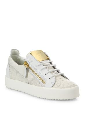 Snake-Embossed Leather Side-Zip Sneakers