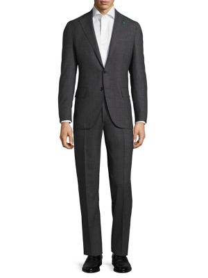 Slim-Fit Micro Graph Check Wool Suit