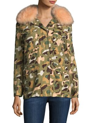 Fur & Cotton Camo Army Jacket by Army by Yves Salomon