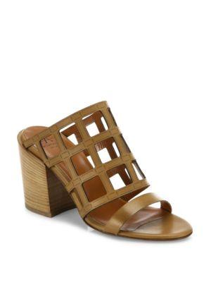 Federica Laser-Cut Leather Block Heel Mules