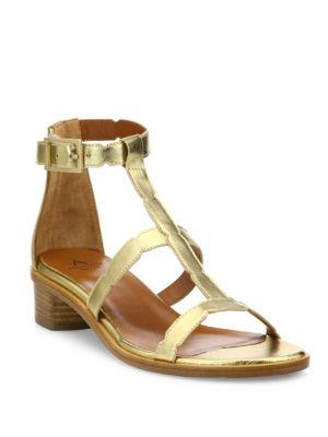 Risa Metallic Leather Block Heel Gladiator Sandals
