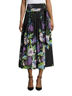 D-Ring Floral Silk Midi Skirt