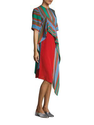 Short Sleeve Ruffle Front Silk Dress