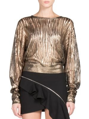 Metallic Distressed Rib-Knit Top