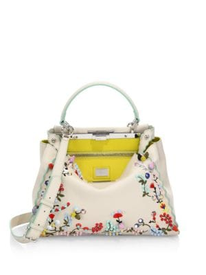 Peekaboo Studded Floral-Embroidered Leather Satchel