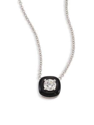 Oui Diamond, Enamel & 18K White Gold Pendant Necklace
