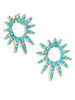 """Spectrum Diamond & Turquoise Hoop Earrings/1.5"""""""