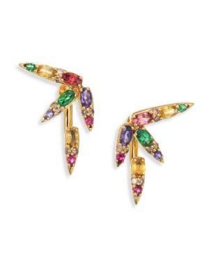 Spectrum Brown Diamond, Tsavorite, Iolite, Pink Tourmaline, Yellow Beryls & Rhodolite Ear Jacket & S